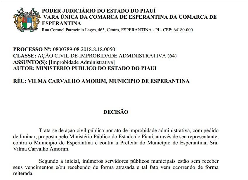 Juiz determina que prefeita de Esperantina efetue pagamento dos servidores no prazo de 72 horas