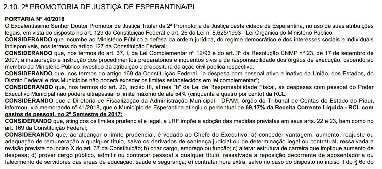 Ministério Público abre inquérito civil para investigar excesso de gastos com pessoal na Prefeitura de Esperantina