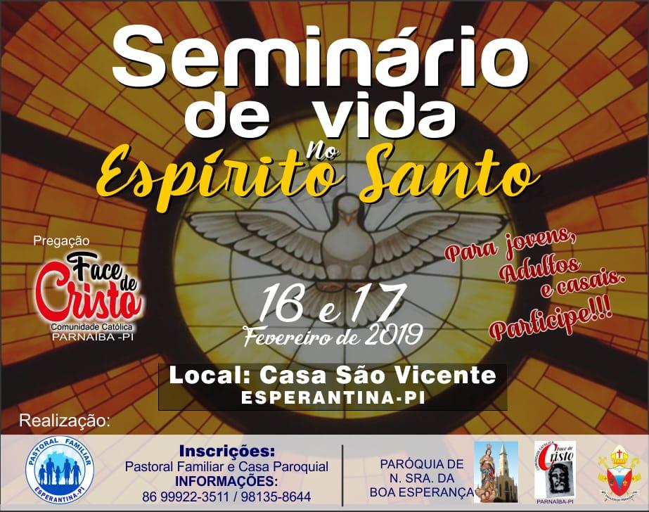 Pastoral Familiar vai realizar Seminário de Vida no Espírito Santo em Esperantina