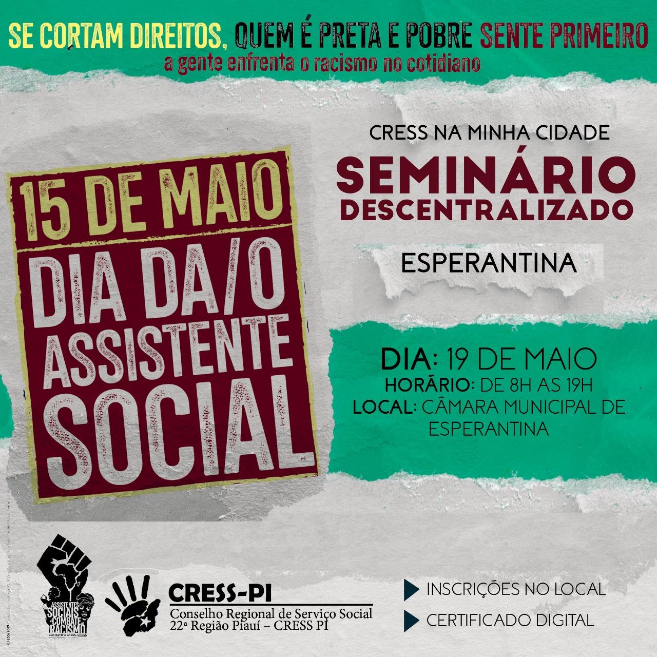Conselho Regional de Serviço Social vai realizar Seminário em Esperantina