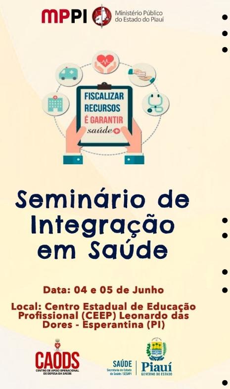 Ministério Público vai realizar Seminário de Integração em Saúde em Esperantina