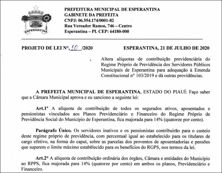 Prefeita de Esperantina envia para a Câmara projeto que aumenta a alíquota de contribuição previdenciária dos servidores