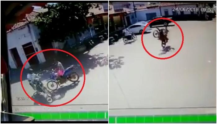 """Jovem que """"empinava"""" moto provoca acidente no centro de Esperantina"""