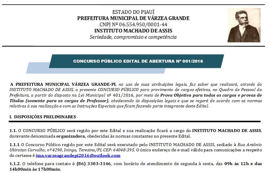 Prefeitura de Várzea Grande – PI realiza certame com salários de até R$ 3,4 mil