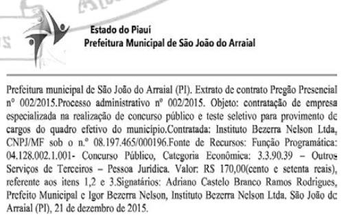 Prefeitura de São João do Arraial contrata empresa que vai realizar Concurso Público