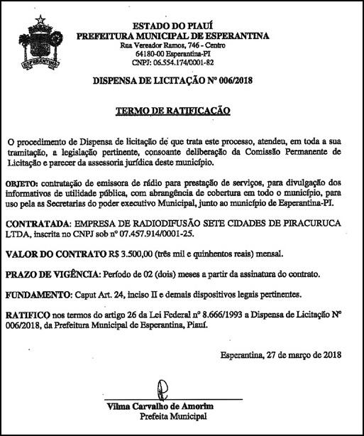 Prefeitura de Esperantina vai pagar quase R$ 4 mil mensal para a Rádio Sete Cidades de Piracuruca