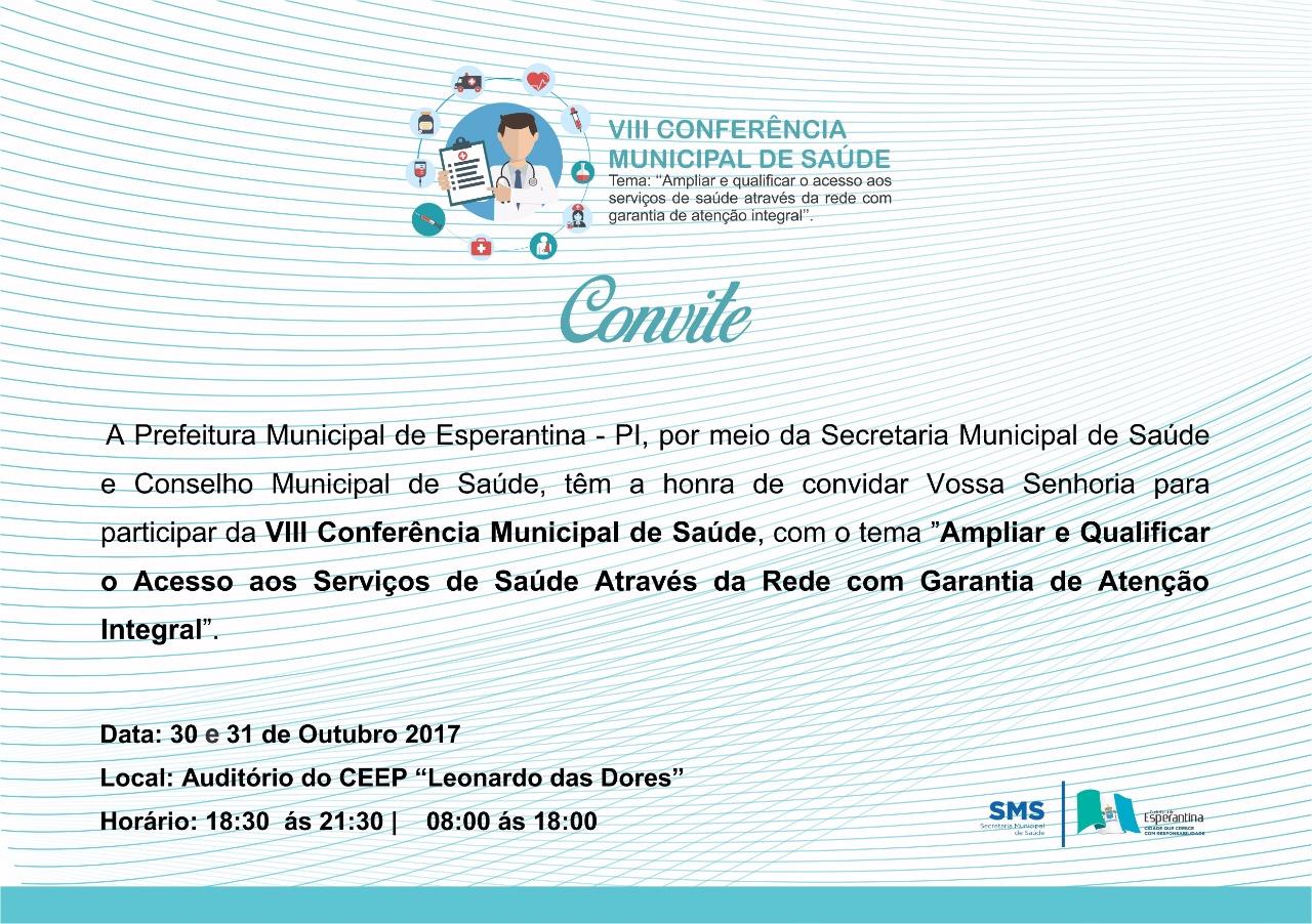Será realizada hoje (30) a 8ª Conferência Municipal de Saúde em Esperantina
