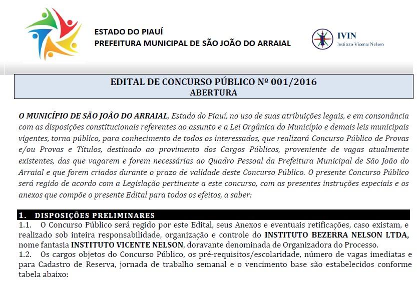 Prefeitura de São João do Arraial abre inscrições para Concurso Público