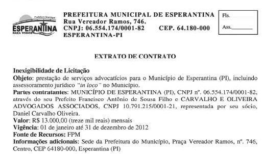 Prefeitura de Esperantina está gastando 13 mil reais mensais com serviços de Advogados