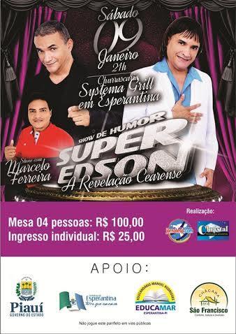 Humorista que imita Roberto Carlos se apresentará no dia 09 de janeiro em Esperantina