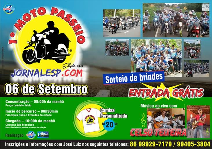 I Moto Passeio do Jornalesp acontece dia 06 de setembro no município
