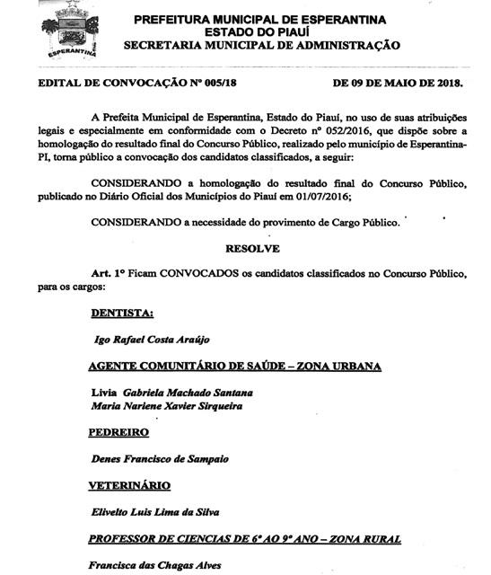 Prefeitura de Esperantina convoca 10 classificados do último Concurso Público